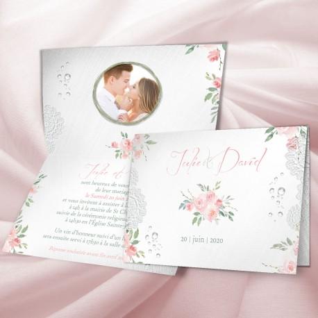 Faire-part mariage fleurs BOHEME