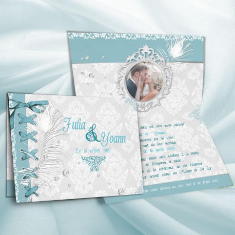Faire-part mariage BAROQUE bleu