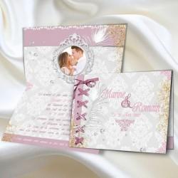 Faire-part mariage BAROQUE diamant et or