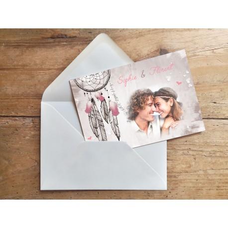 Echantillon - Faire part mariage bohème Attrape rêves rose