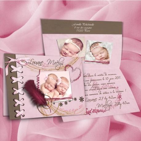 Faire-part jumelles ELEGANCE rose