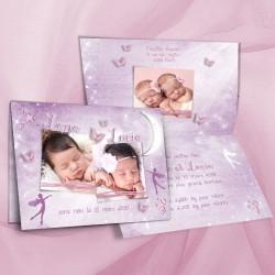 Faire-part naissance jumelles FEERIE parme