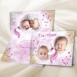 Faire-part naissance jumelles LICORNE