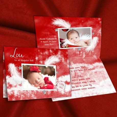 Faire-part de naissance hiver noël rouge et blanc