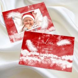 Remerciement carte naissance Noël