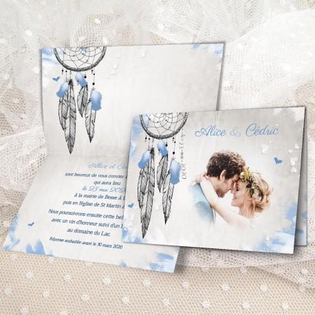 Faire-part mariage bohème ATTRAPE-REVES bleu