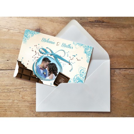 Echantillon - Faire part Chocolat Bleu