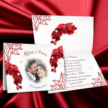 Faire-part mariage ORCHIDEES rouge