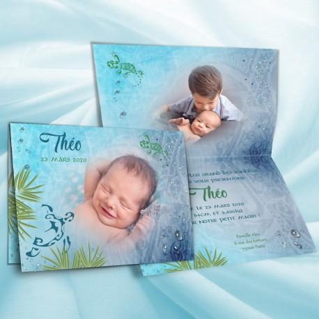 Faire-part naissance polynésie bleu et vert
