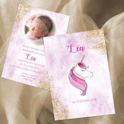 Faire-part naissance licorne LEA2