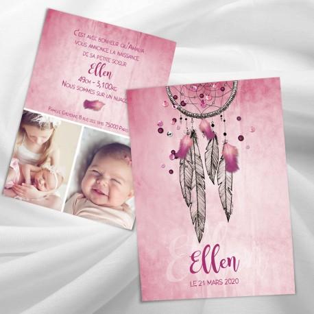 Faire-part naissance attrape-rêves ELLEN2