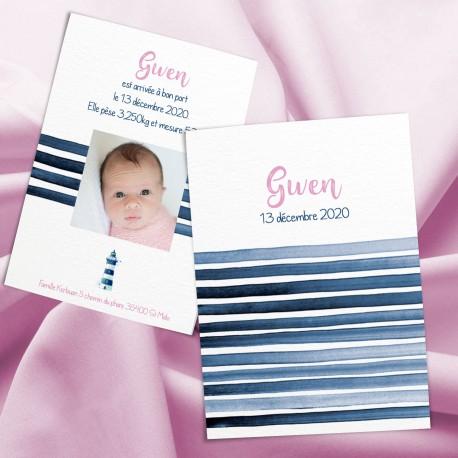 Faire-part de naissance fille de marin GWEN2