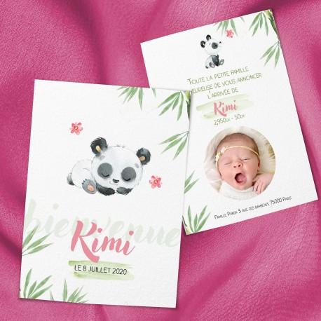 Faire-part de naissance panda aquarelle KIMI2