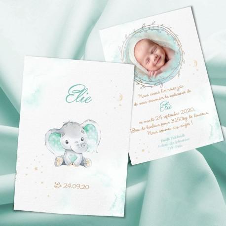Faire-part de naissance éléphant ELIE2