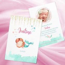 Faire-part de naissance petite sirène JUSTINE2