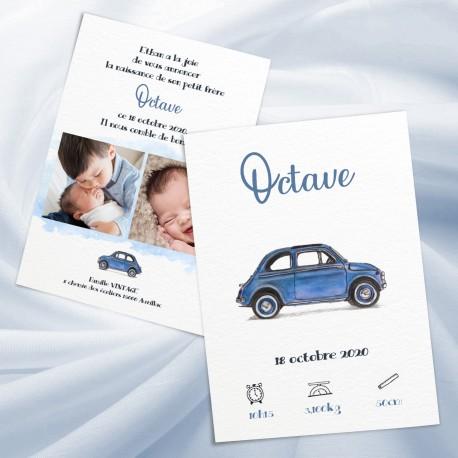Faire-part naissance OCTAVE voiturette 2