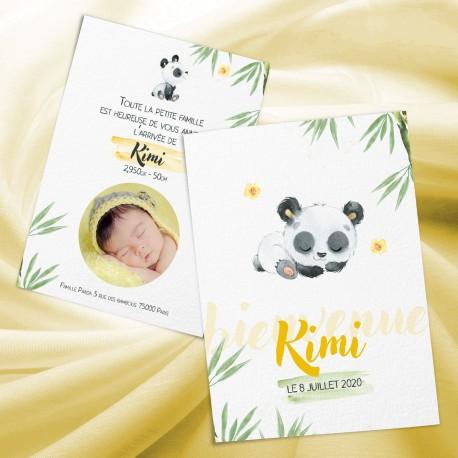Faire-part naissance KIMI mon panda jaune