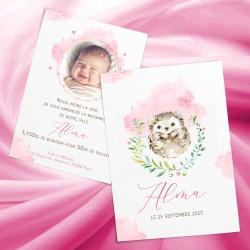 Faire-part naissance ALMA bébé hérisson