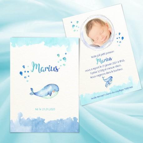 Faire-part naissance MARIUS petite baleine