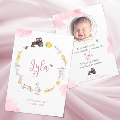 Faire-part naissance LYLA ferme et tracteur rose pour petite fille