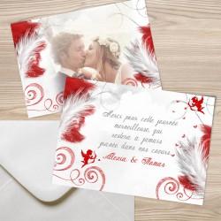 Remerciement carte postale mariage ANGES