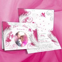 Faire-part mariage ANGES rose fuschia