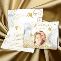 Faire-part mariage ANGES or