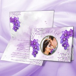 Faire-part mariage orchidées parme