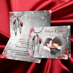 Faire-part mariage ATTRAPE-REVES rouge et noir