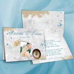 Faire-part mariage VOYAGE bleu