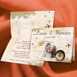Faire-part mariage VOYAGE sable