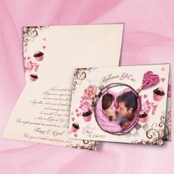 Faire-part mariage CUPCAKES beige rose