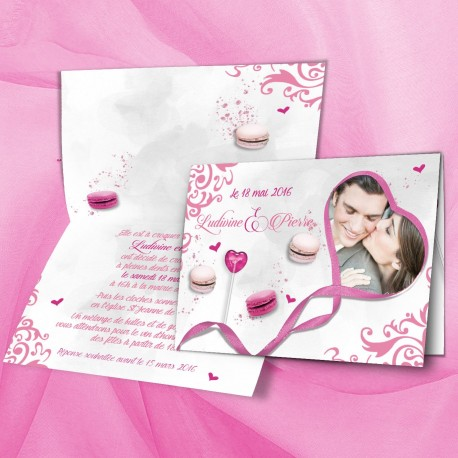 Faire-part mariage CANDY BAR fuchsia