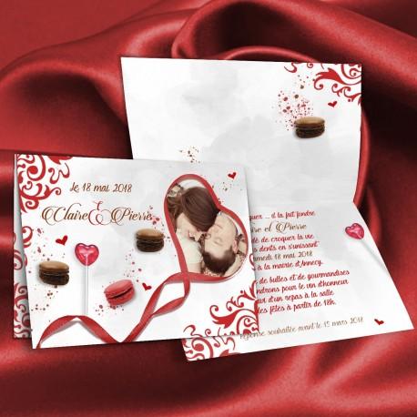 Faire-part mariage CANDY BAR rouge