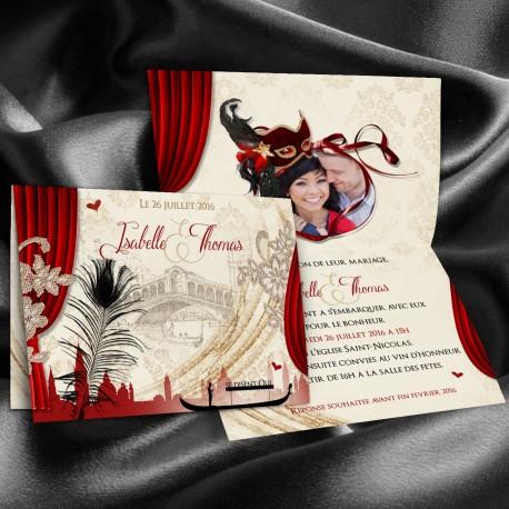 Faire-part mariage VENISE rouge et noir