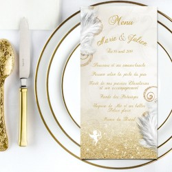 Menu de mariage ANGES or
