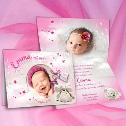 Faire-part nounours rose EMMA