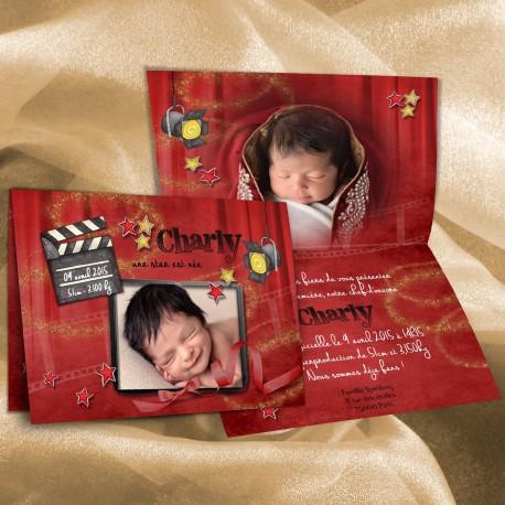 Faire-part naissance cinéma CHARLY
