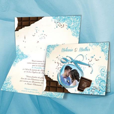 Faire-part mariage CHOCOLAT SHOW turquoise