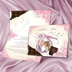 Faire-part  de mariage tablette CHOCOLAT SHOW rose
