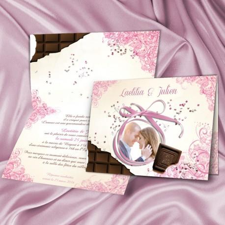 Faire-part  de mariage tablette CHOCOLAT SHOW rose