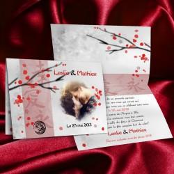 Faire-part mariage thème JAPON rouge