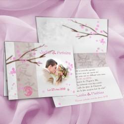 Faire-part mariage thème JAPON rose