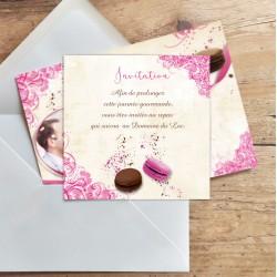 Carton d'invitation mariage MACARONS