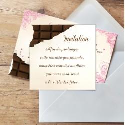 Carton d'invitation mariage gourmand CHOCOLAT