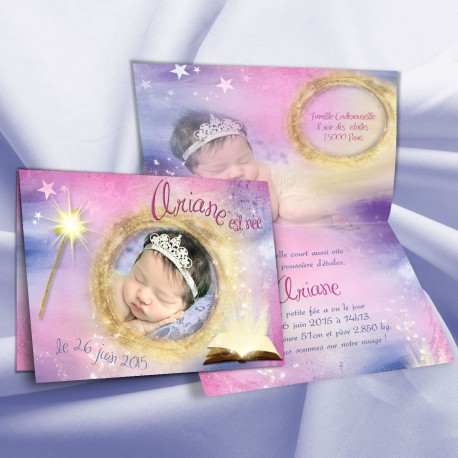 Faire-part naissance magique ARIANE