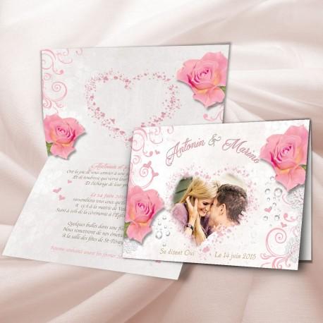 Faire Part Mariage Rose
