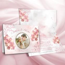 Faire-part  de mariage ORCHIDEES rose