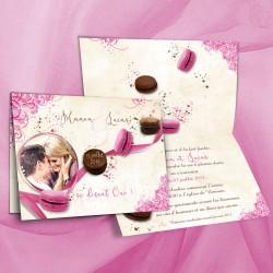 Faire-part mariage GOURMANDISES macaron fuchsia