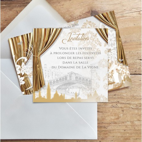 Carton d'invitation de mariage VENISE